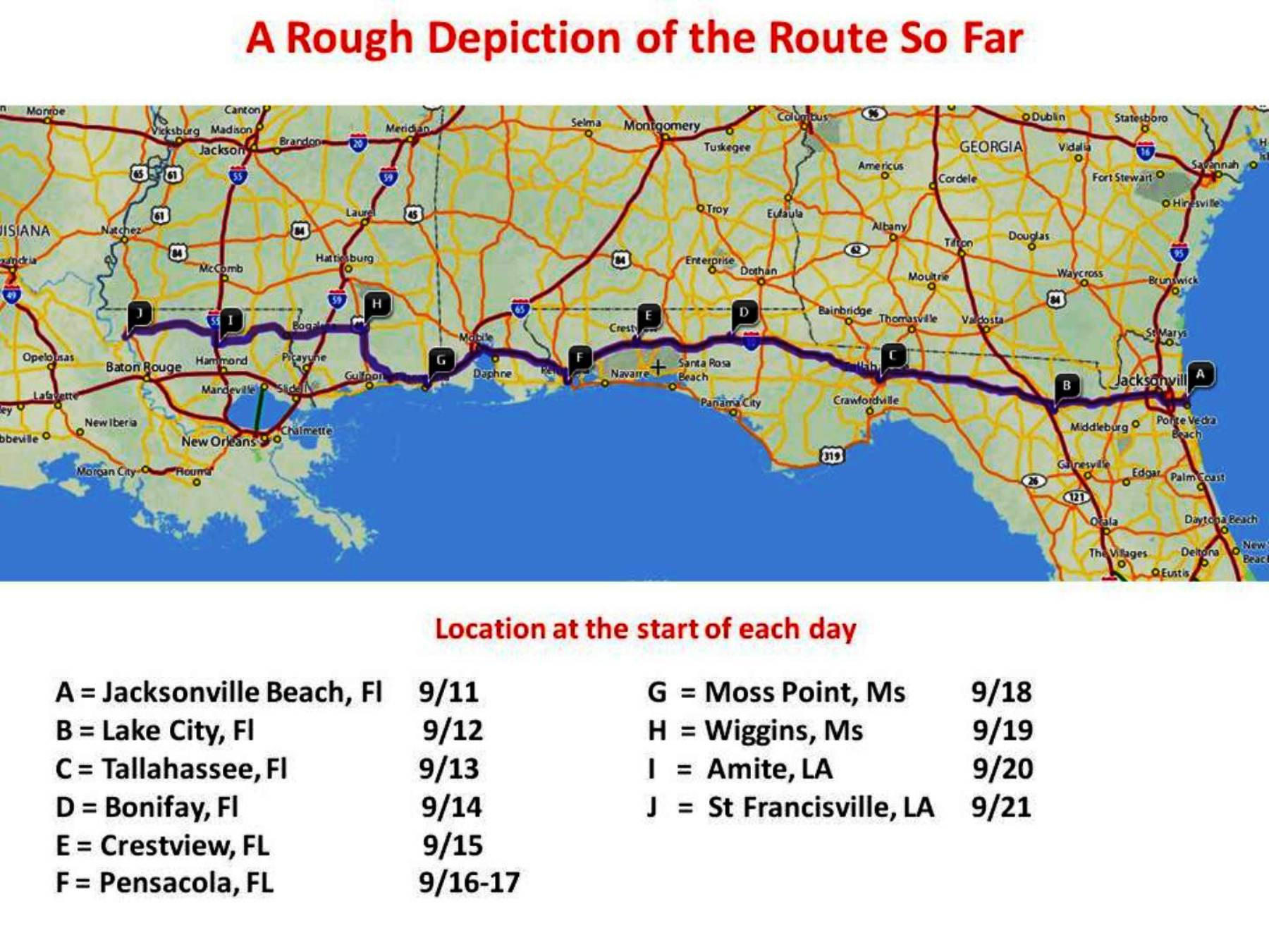 Trip Schedule Pedaling For Patriots - Florida map crestview